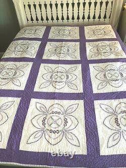 Vintage Handmade Hand Quilted Lavender Purple Embrodered Block Quilt 76x78