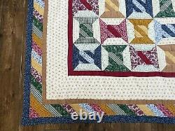 Vintage Handmade Hand Quilted Patchwork Quilt Colorful Spools Blanket 84 x 84
