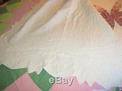 Vintage Handmade Hand Quilted Quilt Dahlia Patchwork Quilt 72x78 Pink & Green