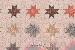Vintage Handmade Hand Sewn Sawtooth Eight Point Star Quilt 66 x 78