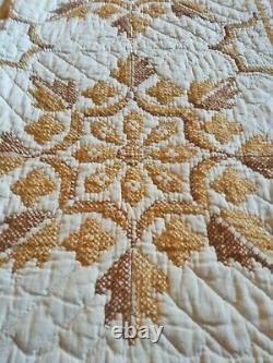 Vintage Handmade Hand-Stitched Cross Stitch Embroidered 92 X 64 Quilt