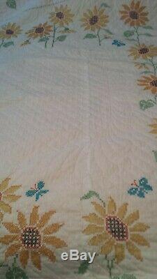 Vintage Handmade Hand Stitched Cross Stitch Quilt Sunflower Butterflies 96 X 84