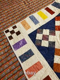 Vintage Handmade Hand Stitched Patchwork Granny Square Quilt 53x70 Twin