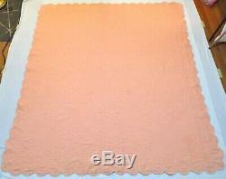 Vintage Handmade Hand Stitched Peach White Sun Flower Quilt 81 x 72½