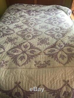Vintage Handmade Hand Stitched Quilt Purple White Flowers Cross Stitch