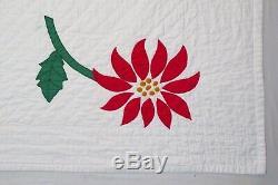 Vintage Handmade Hand Stitched Red Green White Flower Floral Quilt 85 x 76