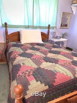 Vintage Handmade King FARMHOUSE Log Cabin Primitive Americana Plaid Rustic Quilt