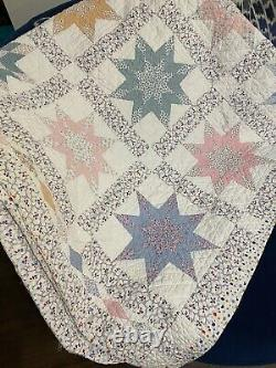 Vintage Handmade Large Star Quilt 82 x 86 Pastel colors