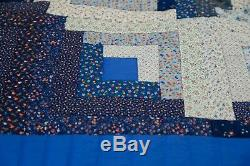 Vintage Handmade Multi Color Square Quilt Pieced Patchwork Blue / White 103x85