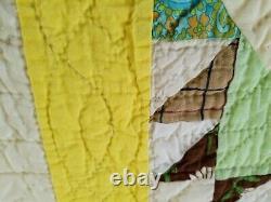 Vintage Handmade Multicolor Pinwheels Kites Quilt 87x82