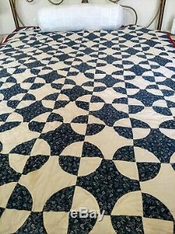 Vintage Handmade Navy Blue & White Cotton, Hand Quilted Patchwork Quilt 83x60