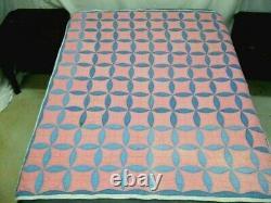 Vintage Handmade Orange Peel Pattern Quilt in Blue & Pink