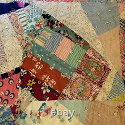 Vintage Handmade Patchwork Folkart Crazy Quilt Multicolored Farmhouse Country Co