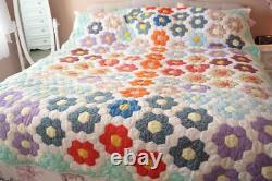 Vintage Handmade Patchwork Quilt 77 x 98 Twin Grandmother's Garden Reversible