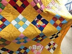 Vintage Handmade Patchwork Quilt Bedspread Blanket 72 x 86 Blocks Floral Estate