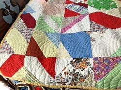 Vintage Handmade Patchwork Quilt Bedspread Blanket 80x68 Blocks Circular Estate