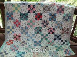 Vintage Handmade Patchwork Quilt, Full Size, 9-Patch Blocks, 71 x 82