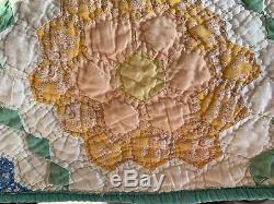 Vintage Handmade Patchwork Quilt Granny's Grandmother's Flower Garden 72 x 82