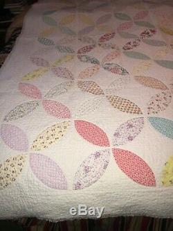 Vintage Handmade Patchwork Quilt Pennsylvania Dutch 92 x 71 Multi Colored Border