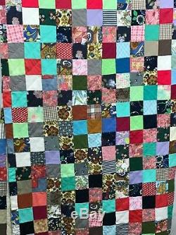 Vintage Handmade Patchwork Quilt Size Full Queen Quilt 86 x 90 Inches
