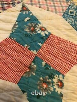 Vintage Handmade Patchwork Reversible star two sided Cotton Quilt 88 x 70