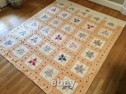 Vintage Handmade Quilt 6-Pointed Star Embroidered 67x78 Excellent Condition