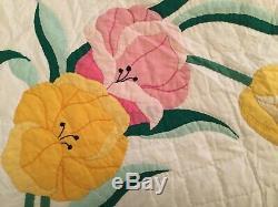 Vintage Handmade Quilt Appliqué Flowers