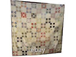Vintage Handmade Quilt Cross In Square White Back 78x78