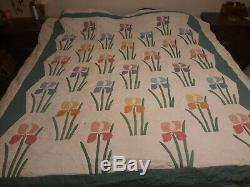 Vintage Handmade Quilt Daffodils Colorful Approx 87x74