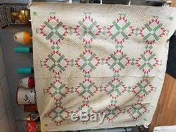 Vintage Handmade Quilt Double Full 87 x 88 Block Pattern Shapes