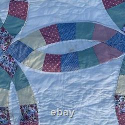 Vintage Handmade Quilt Double Wedding Ring Patchwork Quilted 84x96