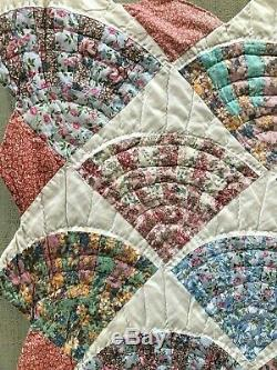 Vintage Handmade Quilt Fan Feed sack Fabric Hand Stitched Colorful Cut Edges