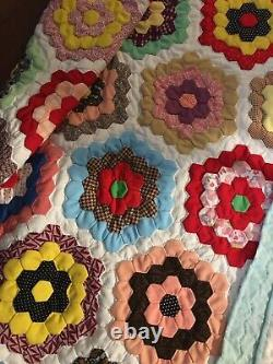 Vintage Handmade Quilt Flower Garden Design 100x100