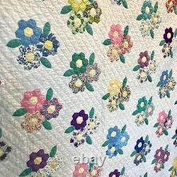 Vintage Handmade Quilt Hexagon Flower Bouquet Hand Quilted W Provenance 1950s