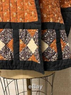 Vintage Handmade Quilt Jacket 70s Floral Calico