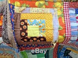 Vintage Handmade Quilt Log Cabin Patchwork Bedspread Blanket 74x84 Estate