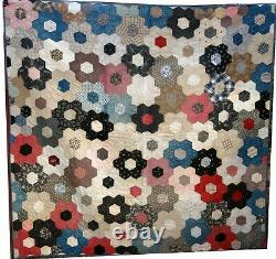 Vintage Handmade Quilt Multi-Color Honeycomb Hexagon Black Vine Back