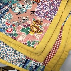 Vintage Handmade Quilt Multicolored Back is Yellow 78 1/2 X 64 1/2