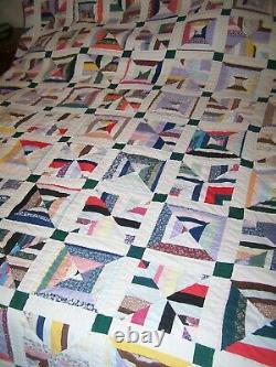 Vintage Handmade Quilt Patchwork Multi Color 90 X 106 Great Smokey Mnts