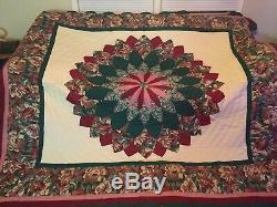 Vintage Handmade Quilt Pattern Floral Pink Green Cranberry Ivory