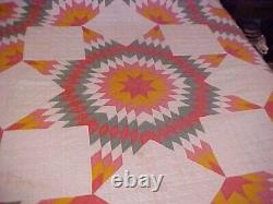 Vintage Handmade Quilt, Pink Green And Yellow Texas Star Design
