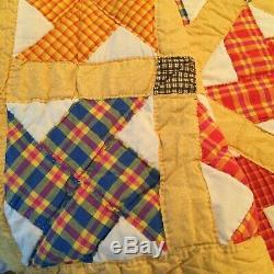 Vintage Handmade Quilt Pinwheel Yellow Multi Color 104 x 90 Wool Batting