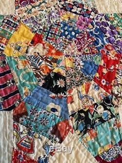 Vintage Handmade Quilt Scrappy Star Kaleidoscope Pattern 72x 88 Hand Stitched