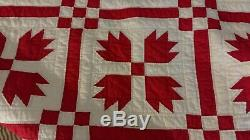 Vintage Handmade & Quilted Christmas RED & WHITE Heirloom Patchwork Quilt 80X94
