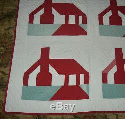 Vintage Handmade School House Patchwork Quilt 1940 71x76.5