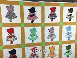 Vintage Handmade Sunbonnet Sue Patchwork Quilt Blanket Measures 69 x 84
