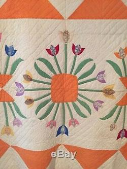Vintage, Handmade Tulip Applique Quilt, Stunning Detail, 74 X 82 (Queen) 1930
