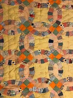 Vintage Handmade Wedding Ring Feedsack Wool Filled Tie Quilt Twin 64 W X 83 L