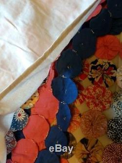 Vintage Handmade Yo Yo Quilt 89 x 89 Coverlet Queen Size Feedsack 1930's
