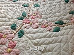 Vintage Handmade quilt pink dogwood 74 X 90 Estate sale